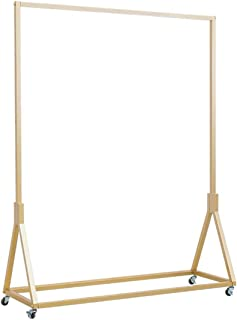 FURVOKIA Modern Simple Heavy Duty Metal Rolling Garment Rack,Retail Display Clothing Rack,Wrought Iron Single Rod Floor-Standing Hangers Clothes Shelves (Gold Square Tube, 47.2 L)