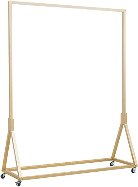 FURVOKIA Modern Simple Heavy Duty Metal Rolling Garment Rack Retail Display Clothing Rack Wrought Iron Single Rod Floor Standing Hangers Clothes Shelves Champagne Gold Square Tube 47 2 L