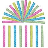 Reglas (Pack de 24) - Reglas de Colores Transparentes de 30cm - Reglas de Plástico Milímetro, Centímetro y Pulgadas - Reglas de Plástico Incluye 4 Colores Rosa Eléctrico, Azul, Amarillo Neón y Verde