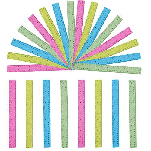 """Liniaal - Pakket van 24 Transparant Gekleurde Linialen met 30cm / 12""""- Helder Plastic Linialen met 4 Kleuren Hot Pink, Blauw, Neon Geel en Groen"""