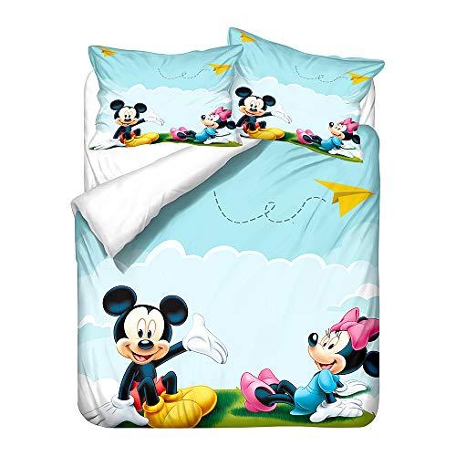 Probuk Juego de cama infantil de Mickey Mouse, 100 % microfibra, funda nórdica para niños y niñas, con funda de almohada (A-02,150 x 200 cm (50 x 75 cm)