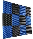 New Level 12 Pack- Ice Blue/Charcoal Acoustic Panels Studio Foam Egg Crate 1' X 12' X 12'