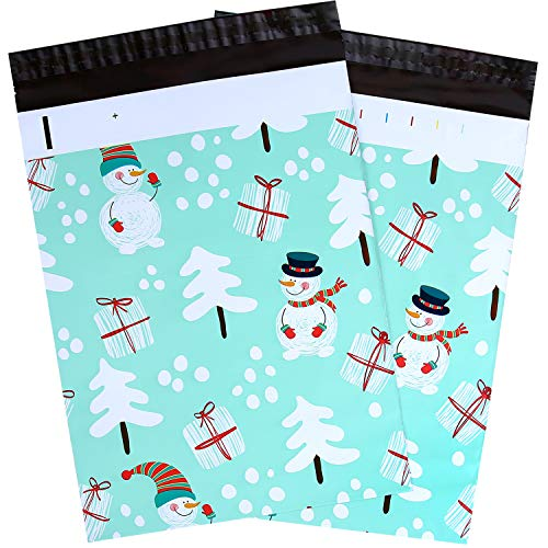 100 Pcs 10x13 Snowman Designer Winter Poly Mailers, Ohuhu Christmas Envelopes Shipping Bags with Self Seal Adhesive, Waterproof and Tear-Proof Postal Bags