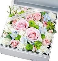 花由 ボックスフラワー hana cube グランデ(大) 白箱 ホワイトxピンク系 生花