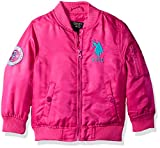 US Polo Association Baby Little Girls' Fashion Outerwear Jacket (More Styles Available), Flight-UA64-Fuchsia, 5/6