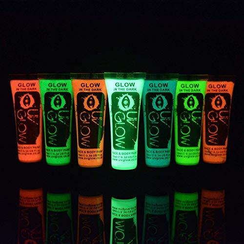 UV Glow Lot de 7 tubes de peinture Phosphorescente pour le visage et le corps 7 x 10 ml Phospho