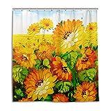 CPYang Duschvorhang, Ölgemälde, Sonnenblume, wasserdicht, schimmelresistent, 168 x 182 cm, mit 12 Haken