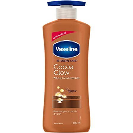 Vaseline Intensive Care 24 hr nourishing Cocoa Glow Body Lotion with Cocoa And Shea Butter, Restores Glow for all skin type - 400 ml