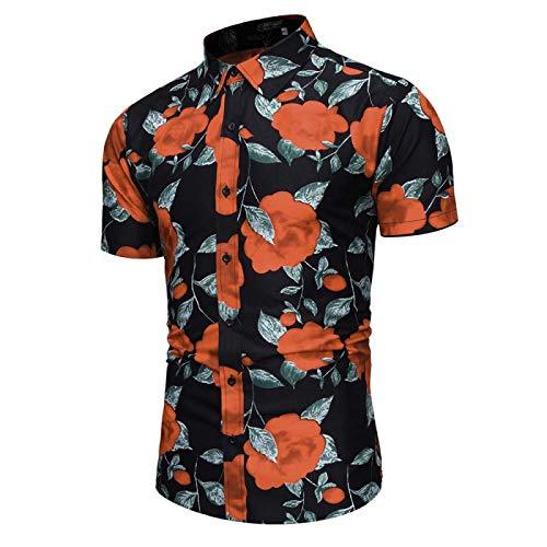 Camisa Floral Delgada Informal para Hombre Camisa de Flores de Playa cmoda Informal Suelta con Botones Estampados en 3D de Moda Hawaiana L