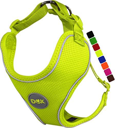 DDOXX Hundegeschirr, Reflektierend, Verstellbar, Ausbruchsicher | Brust-Geschirr für kleine, mittel-große | Hunde-Geschirr Hund Katze Welpe Auto | Katzen-Geschirr Welpen-Geschirr | Gelb, XL