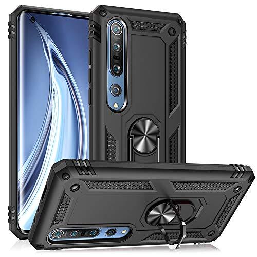 NALIA Ring Handyhülle kompatibel mit Xiaomi Mi 10 / Mi 10 Pro Hülle, Kratzfeste Schutzhülle mit 360° Finger-Halter, Silikon Cover Innen und Hardcase, Hülle für magnetische KFZ-Halterung, Farbe:Schwarz