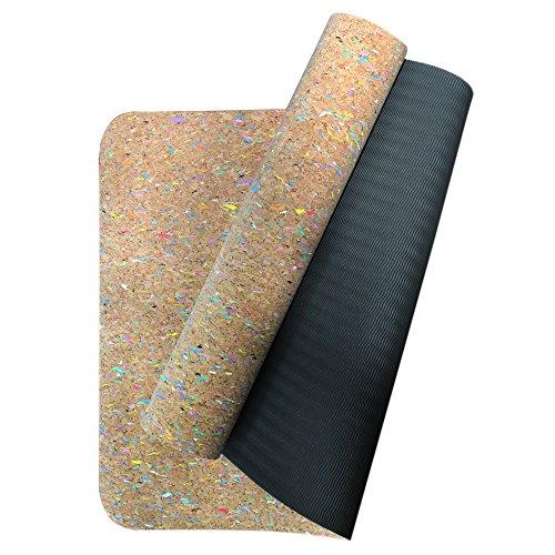 Boshiho Hohe Dichte umweltfreundlicher Kork + TPE Übung Yoga-Matte Für Pilates Fitness Und Workout Mit Tragegurt. (Multi color-cork)