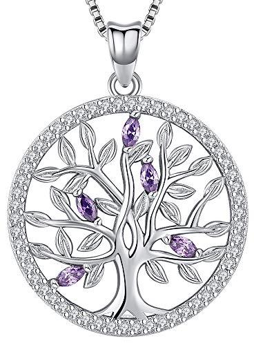Aniu Collar del árbol de la vida de la familia para mujeres / niñas, colgante de piedra de nacimiento de plata esterlina 925, joyería de circonio cúbico púrpura 5A (con caja de regalo)