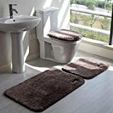 ZXMDP 4 unids/Set Alfombrillas de baño Antideslizantes Color sólido súper Suave para baño, Asiento de Inodoro, cojín para Tapa, Juego de alfombras para Piso, DAD831