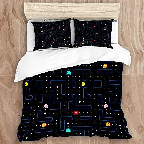 JIUHUASHANLION Duvet Cover Set,Pac-Man Retro Arcade Gaming DesignDecorative 3 Piece Bedding Set with 2 Pillow Shams, Queen Size