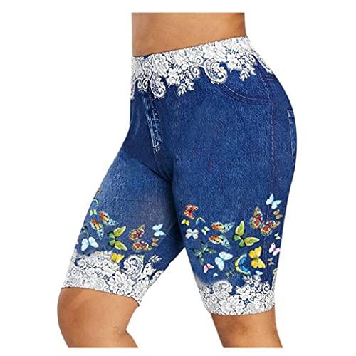 Banbry Damen Sportshorts Hotpants mit Hoher Taille Große Größe Spitze Kurze Hose Basic Casual Jeans Shorts Schmetterling Drucken Lässige Sport Stretch Shorts
