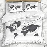 Conjuntos de fundas nórdicas Australia Blue Mundi Mapa del mundo Antártida Línea de coordenadas Mapa del mundo África América Asia Diseño Atlas Ropa de cama de microfibra Tamaño doble con 2 fundas de