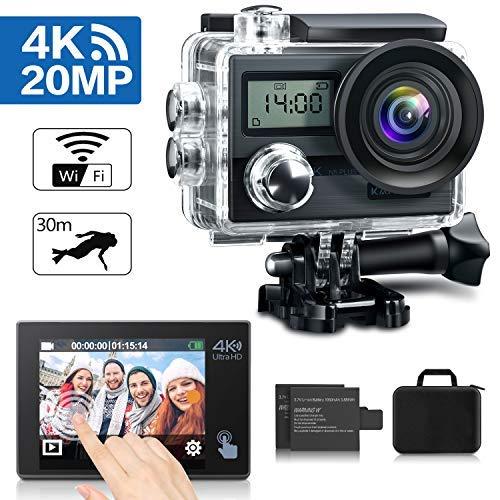 """KAMTRON Action Cam 4K Wasserdicht Aktion Kamera - 20MP Ultra Full HD WiFi Unterwasserkamera Helmkamera mit EIS 170°Weitwinkelobjektiv 2\""""-LCD-Touchscreen 2 wiederaufladbare Batterien"""