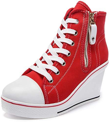 siphly Damskie buty typu sneakers z obcasem klinowym 35-43 EU Canvas do uprawiania sportu, spędzania wolnego czasu, damskie buty typu sneaker na koturnie, buty sportowe, do biegania, oddychające siateczkowe buty do spędzania wolnego czasu, - 04 czerwony. - 36 EU