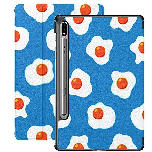 Galaxy Tablet S7 Plus Custodia da 12,4 pollici 2020 con portapenne S, uova fritte Seamless Pattern Wallpaper su supporto sottile Custodia protettiva Folio per Samsung