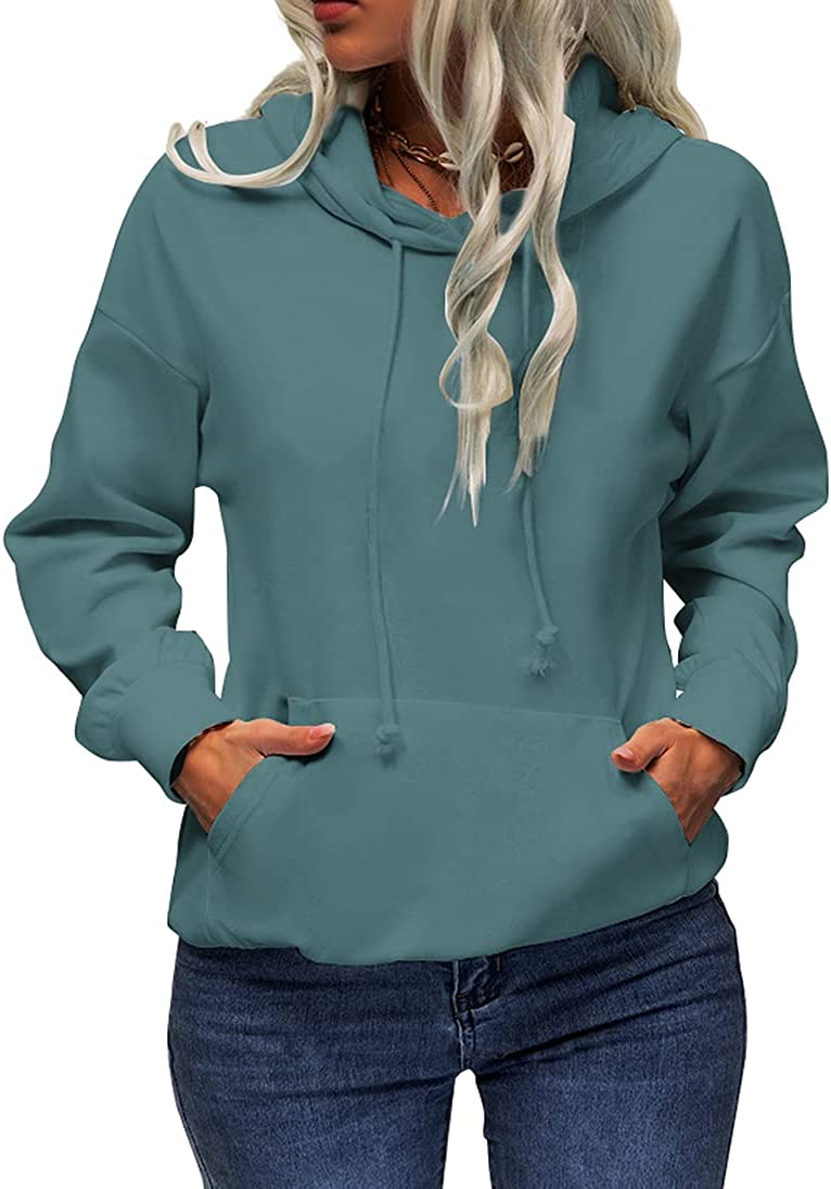 GIBLY Women's Casual Basic Hoodies Long Sleeve Solid Color Pullover Sweatshirts