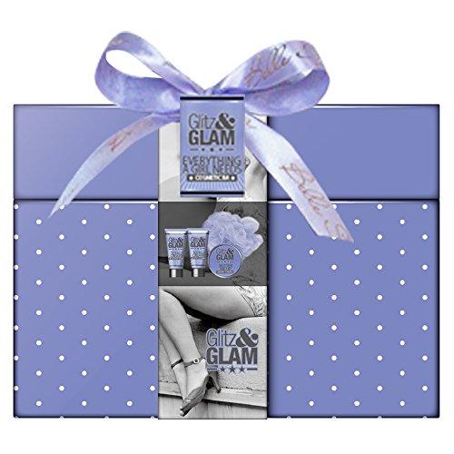 Coffret cadeau beauté pour femme - Boîte de bain incluant une fleur de massage - Collection Glitz and Glam - Lavande