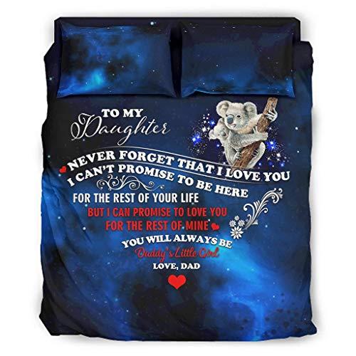 Koala to My Daughter Starry - Juego de cama de 4 piezas Cal King con cremallera, incluye 1 funda nórdica y 1 funda de almohada de 240 x 264 cm, color blanco