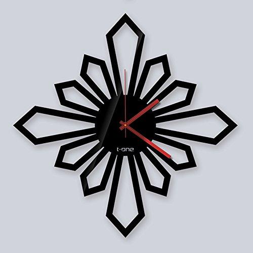 Horloge murale muet salon moderne/horloge personnalisée/chambre horloge créative (Couleur : Noir, taille : D)