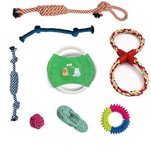 Hundespielzeug – Welpen-Spielzeug, Baumwollseil, waschbares Material, Kauseil, Zahnreinigung, Welpen-Spielzeug für kleine und mittelgroße Hunde, Geschenk für Welpen, 8 Pack