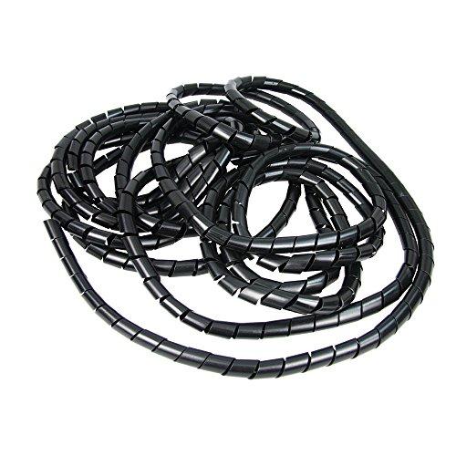 Heitronic Câble spirale tuyau 15 mm à l'intérieur, extérieur-Ø 19–50 mm, Rouleau de 10 m, noir