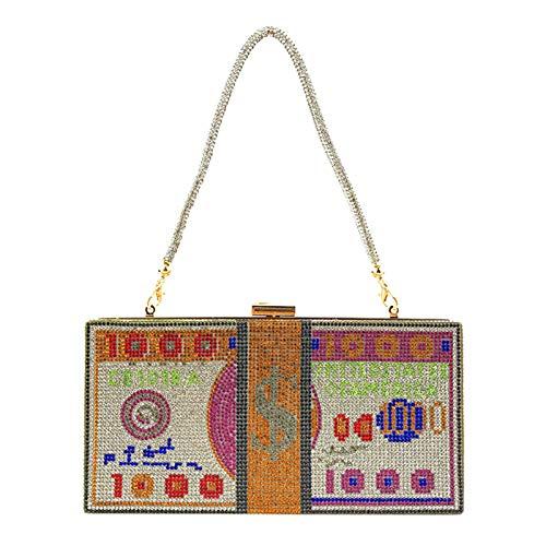 Qiuming Stack of Cash - Bolsa de dinero de 100 dólares con cristales para mujer