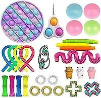 26ピースのフィジットのおもちゃセット、感覚玩具パック子供の大人、ストレスリリーフ、反不安ツール、シンプルなディンプルとポップの付いた玩具ボックス、そのおもちゃのキル時間 (Color : 29 Packs)