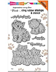 STAMPENDOUS CLING RUBBER STAMP KITTEN HUG