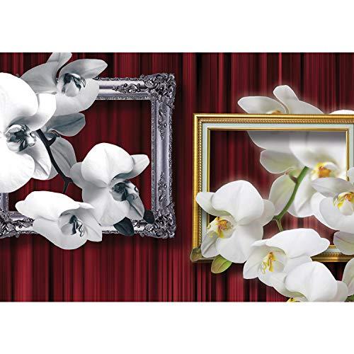 Vlies Fototapete PREMIUM PLUS Wand Foto Tapete Wand Bild Vliestapete - Orchideen Bilderrahmen Natur Vorhang Blume Pflanzen - no. 1216, Größe:416x254cm Vlies