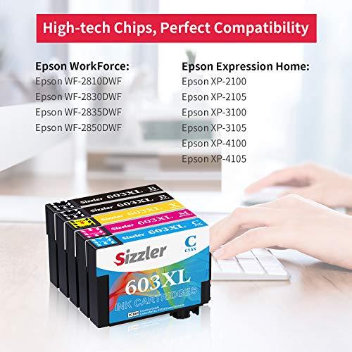 Sizzler 603XL Reemplazo para Epson 603 XL Cartuchos de Tinta Compatibles con Epson XP-3100 XP-4100 XP-2100 XP-2105 XP-3105 XP-4105 WF-2810 WF-2830 WF-2835 WF-2850,(2 Negro,1 Cian,1 Magenta,1 Amarillo)