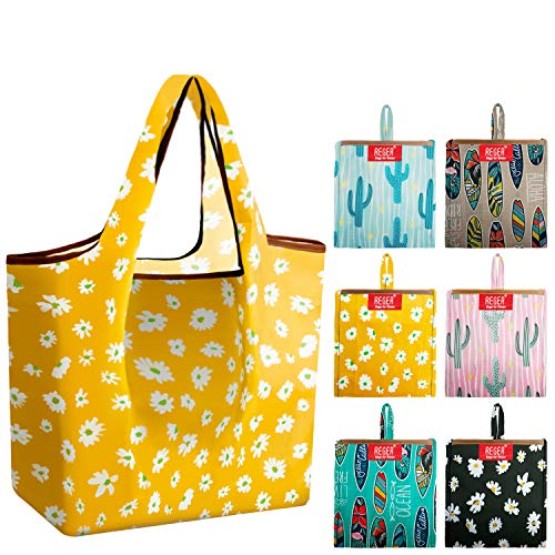 Grocery-Bags-Shopping-Reusable-Foldable-Bags 6 Pack With Square Pouch Grocery Bags Cloth Reusable...