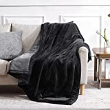 Lynnlov Thick 3 Layers Flannel Fleece Throw Blanket for Couch 50' x 60', Soft Decorative Microfiber Plush Blankets,Luxury Comfy Cozy Velvet Blanket for Sofa Chair Bed, Winter, Warm, Breathable, Black