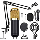 USB Streaming Podcast PC Microphone Gold Black, AUSELECT Professional 96KHZ/24Bit Studio Cardioid Condenser Mic Kit with Sound Card Boom Arm Shock Mount Pop Filter