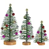 3 Pack Frosted Green Bottle Brush Trees with Metallic Bead Ornaments Artificial Mini Pine Trees Tabletop Christmas Trees on Wood Stand for Vintage Holiday Décor Winter Miniature Village Assorted Sizes