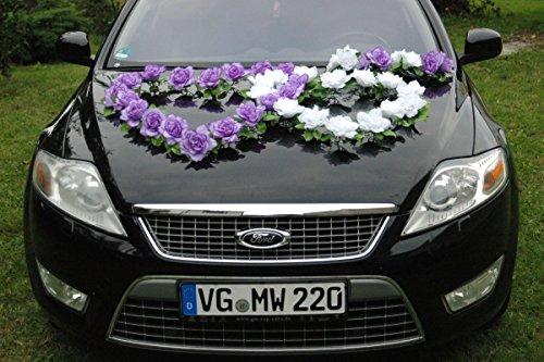 DOPPEL Herz Auto Schmuck Braut Paar Rose Deko Dekoration Autoschmuck Hochzeit Car Auto Wedding Deko...