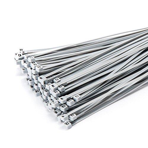 100 Stück Kabelbinder 300mmx3,6mm für Zaun Schattiernetze Zaunblende in silber