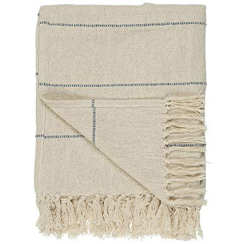 Ib Laursen Decke/Überwurf aus 100 % Baumwolle, cremefarben mit blauen Streifen