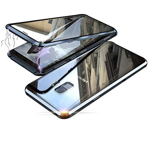 Jonwelsy Hülle für Samsung Galaxy S9, Magnetische Adsorption Metall Stoßstange Flip Cover mit 360 Grad Schutz Doppelte Seiten Transparent Gehärtetes Glas Handyhülle für Samsung S9 (Schwarz)