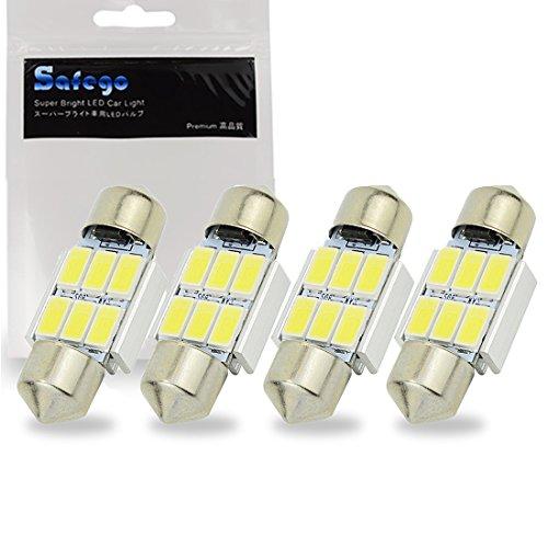 Safego 4 x 31mm LED Feston 1.25' DE3175 DE3021 DE3022 C5W LED Canbus 5630 SMD 6LED Luz Interior de Coche Festón Lámpara Blanco Numero c5w luz de la placa del adorno de la boveda del bulbo de 12V