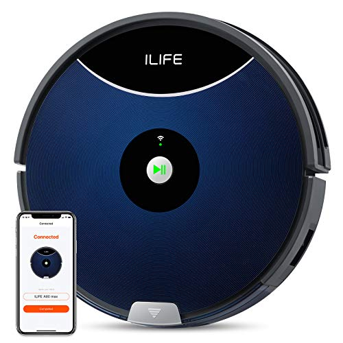 ILIFE A80 Max Robot Vacuum, 2000Pa Max Suction, Wi-Fi Connected, Cellular Dustbin, 2-in-1 Roller Brush, Self-Charging, Slim and Quiet, Ideal for Hard Floors to Medium-Pile Carpet