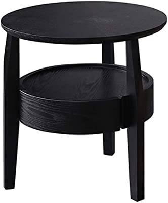Coffee Tables Bedroom Bedside Table Living Room Sofa Coffee Table Household Round Balcony Double Coffee Table (Color : Black, Size : 50 * 50 * 50cm)