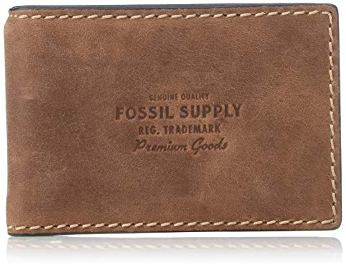 Fossil Men's Russell Leather RFID blocking Bifold Wallet, Cognac