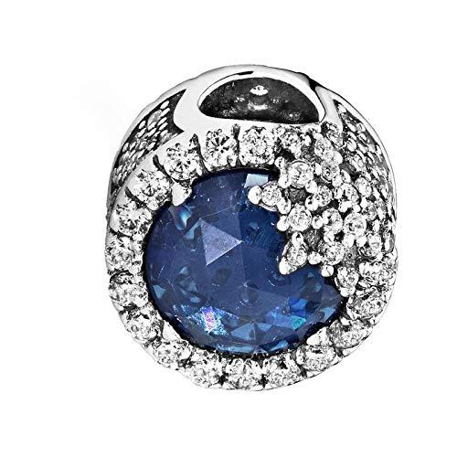 Colgante de copo de nieve para pulseras collar de plata de ley 925 con cuentas de azul cúbico C crepúsculo azul copo de nieve