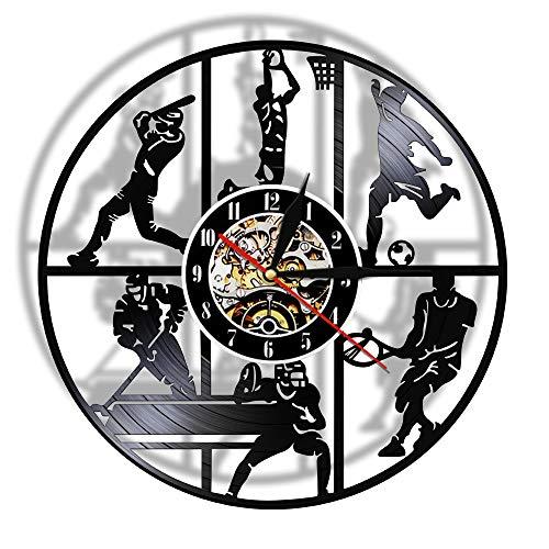 30cm Béisbol Baloncesto Fútbol Hockey Fútbol Tenis Juego de pelota Disco de vinilo Reloj de pared Habitación para niños Deportes Arte de la pared Colgante Moda Música Arte Registro Relojes de pared