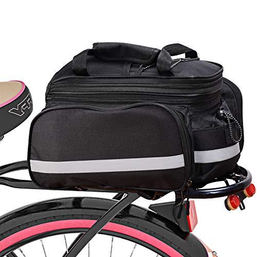Fahrrad Satteltasche Gepäcktasche Gepäckträger Tasche Rucksack Seitentasche mit wasserfester, reflektierender und Regenschutzdeckel